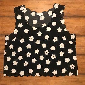 Mine Black & White Flower Crop Top